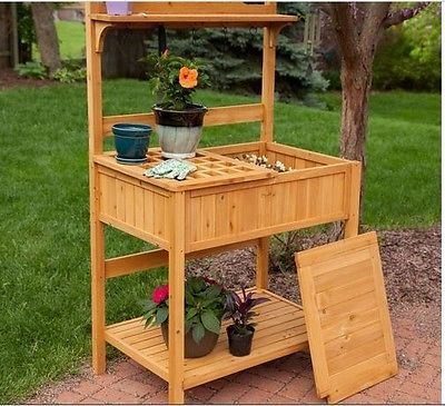 Garden Potting Bench Wooden Table Storage Planter Box Work Station Outdoor New Outdoor Potting Bench Potting Bench Pallet Potting Bench