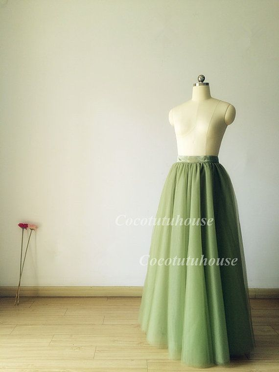 01033a0519 Olive Green Soft Tulle Skirt /Olive green Women Horsehair Tulle ...