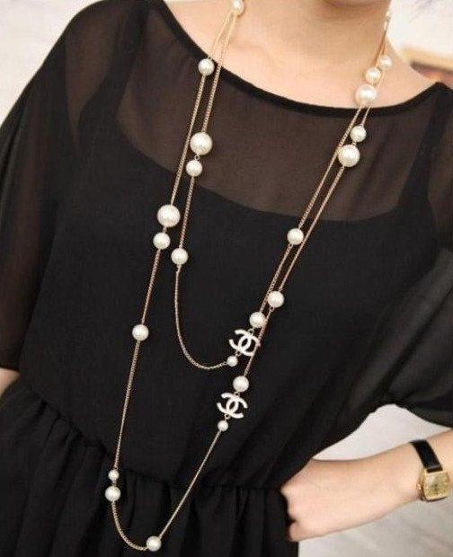 Chanel Inspired White Logo Long Necklace Chanel Necklace Long