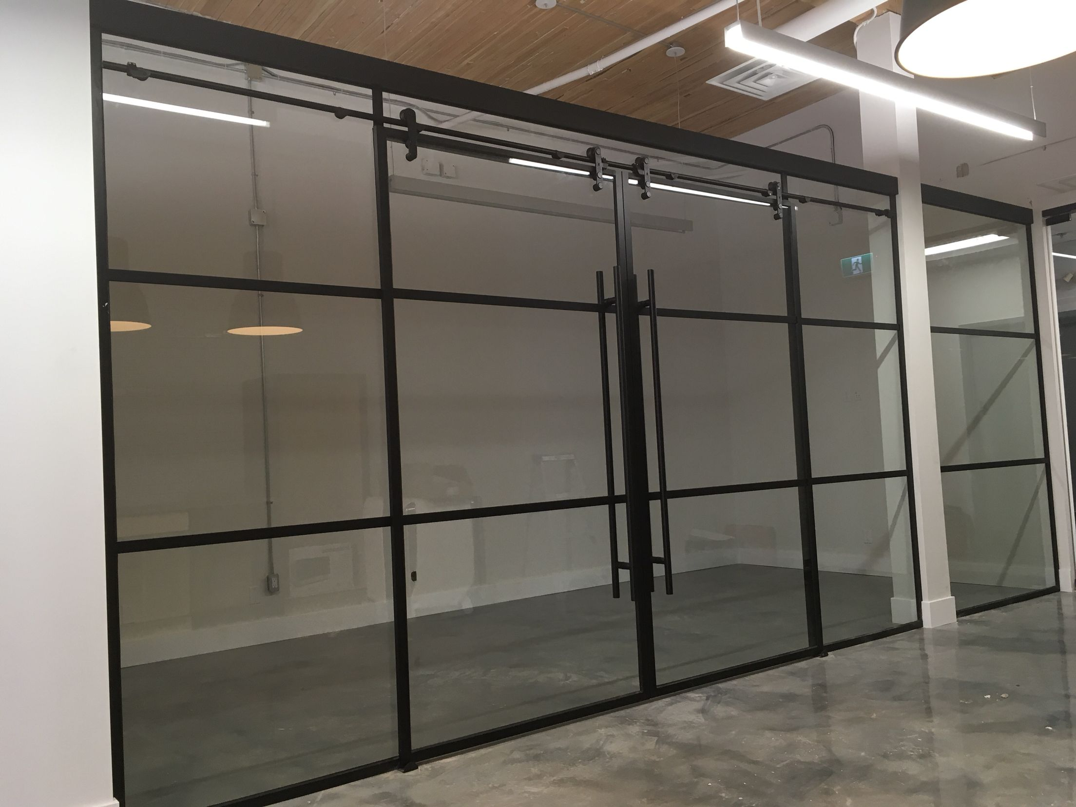 Matte Black Mullion Sliding Glass Doors Office Glass Doors