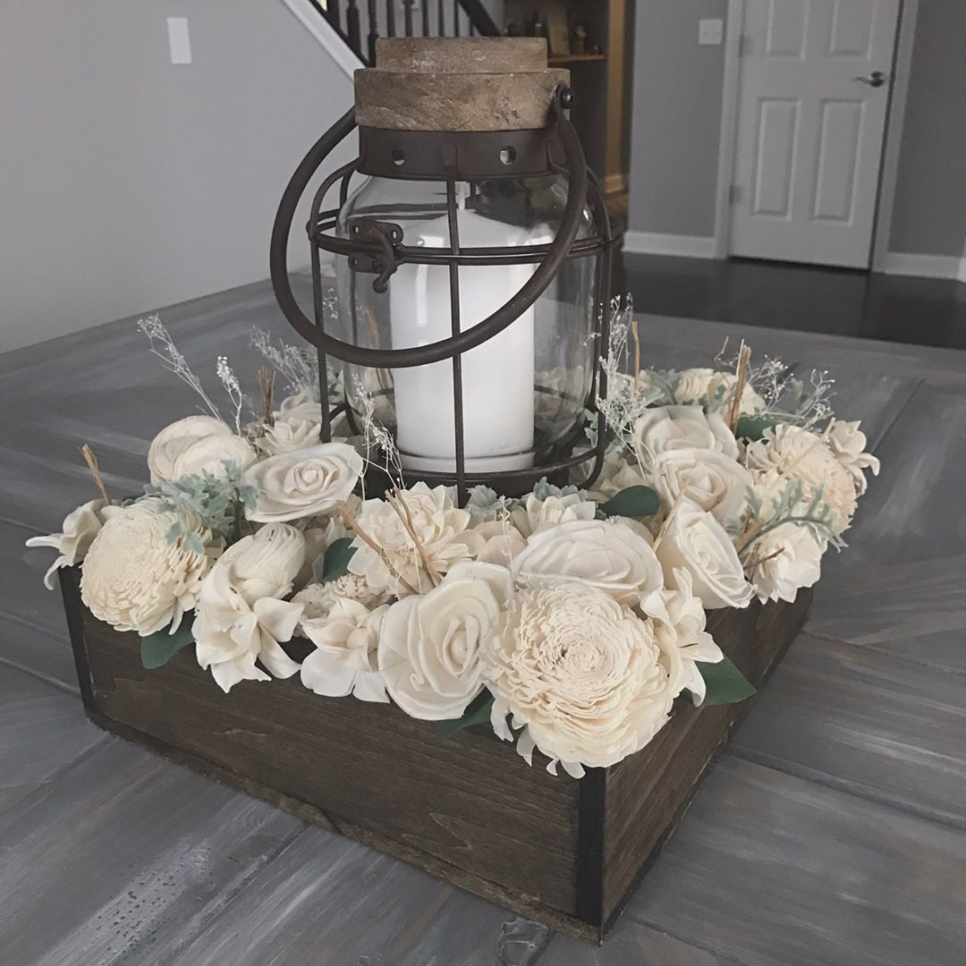 Sola Flower Centerpiece Perfect Soft Rustic Option For A Dining Room Table Dining Room Table Centerpieces
