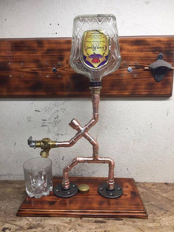 the server single bottle liquor dispenser schnaps gestell flaschen schnaps und kupferrohr. Black Bedroom Furniture Sets. Home Design Ideas