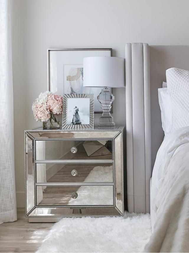 Jessi Malay New Home Makeover Bedside Table Decor Glass