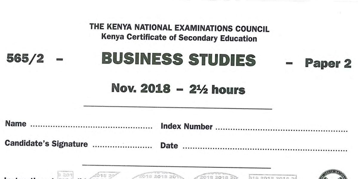 KNEC KCSE 2018 Business Studies Paper 2 with Answers