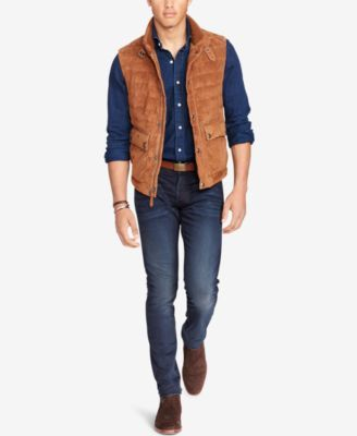 Polo Ralph Lauren Men's Quilted Suede Down Vest in 2019