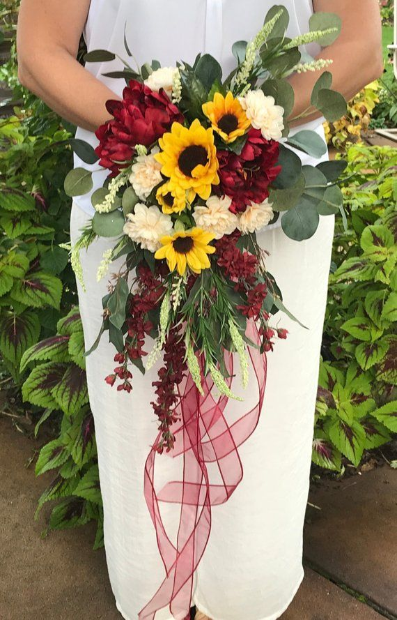 Cascading Crimson Sunflower Bridal Bouquet-Silk Cascading Autumn Bridal Bouquet-Sunflower-Peonies-Chrysanthemum-Larkspur-Heather-Burgundy #whitebridalbouquets