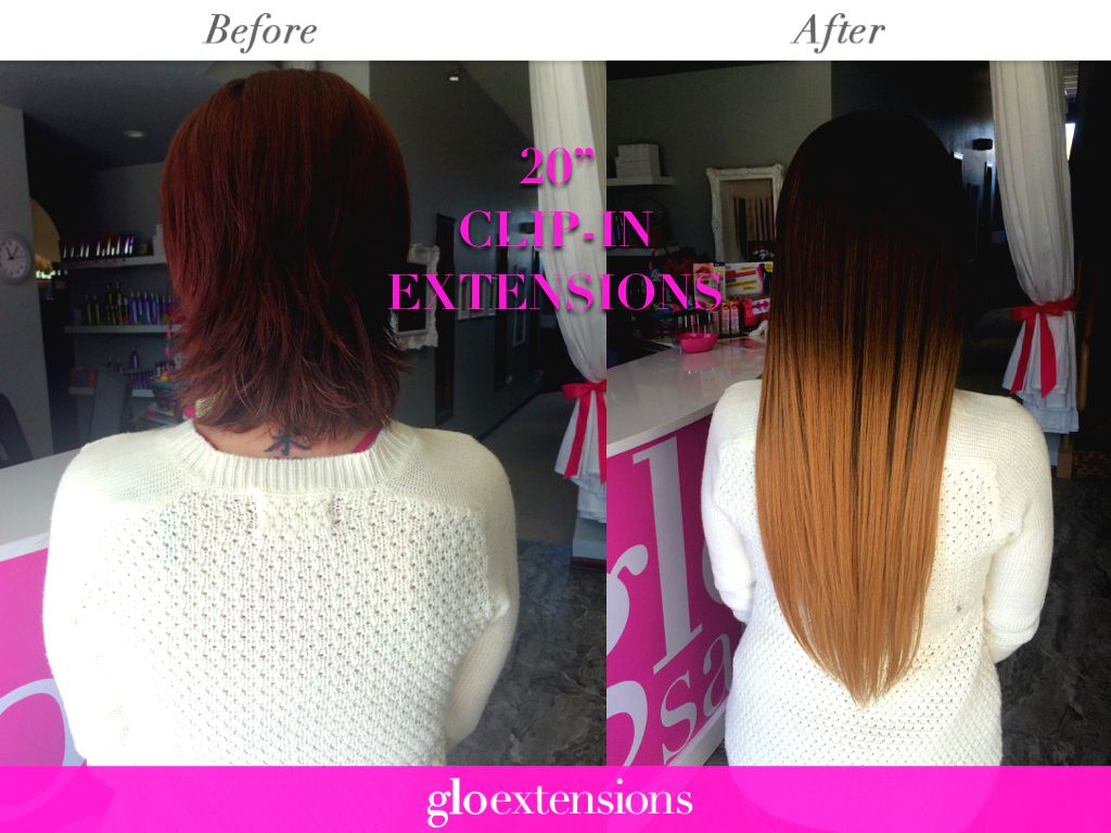 Clip In Hair Extensions Before And After By Glo Extensions Denver
