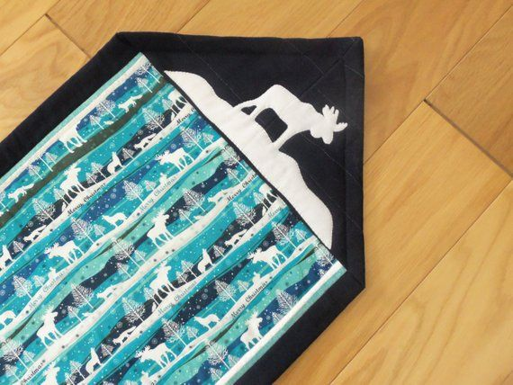 Moose Quilted Table Runner Woodland Table Runner Teal Navy White Christmas Season Quilted Q Moose Quilt Table Runners White Christmas