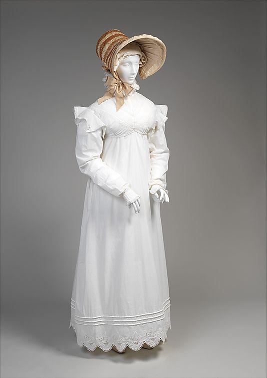 Morning Dress, c 1819, British, cotton. Metropolitan Museum of Art.