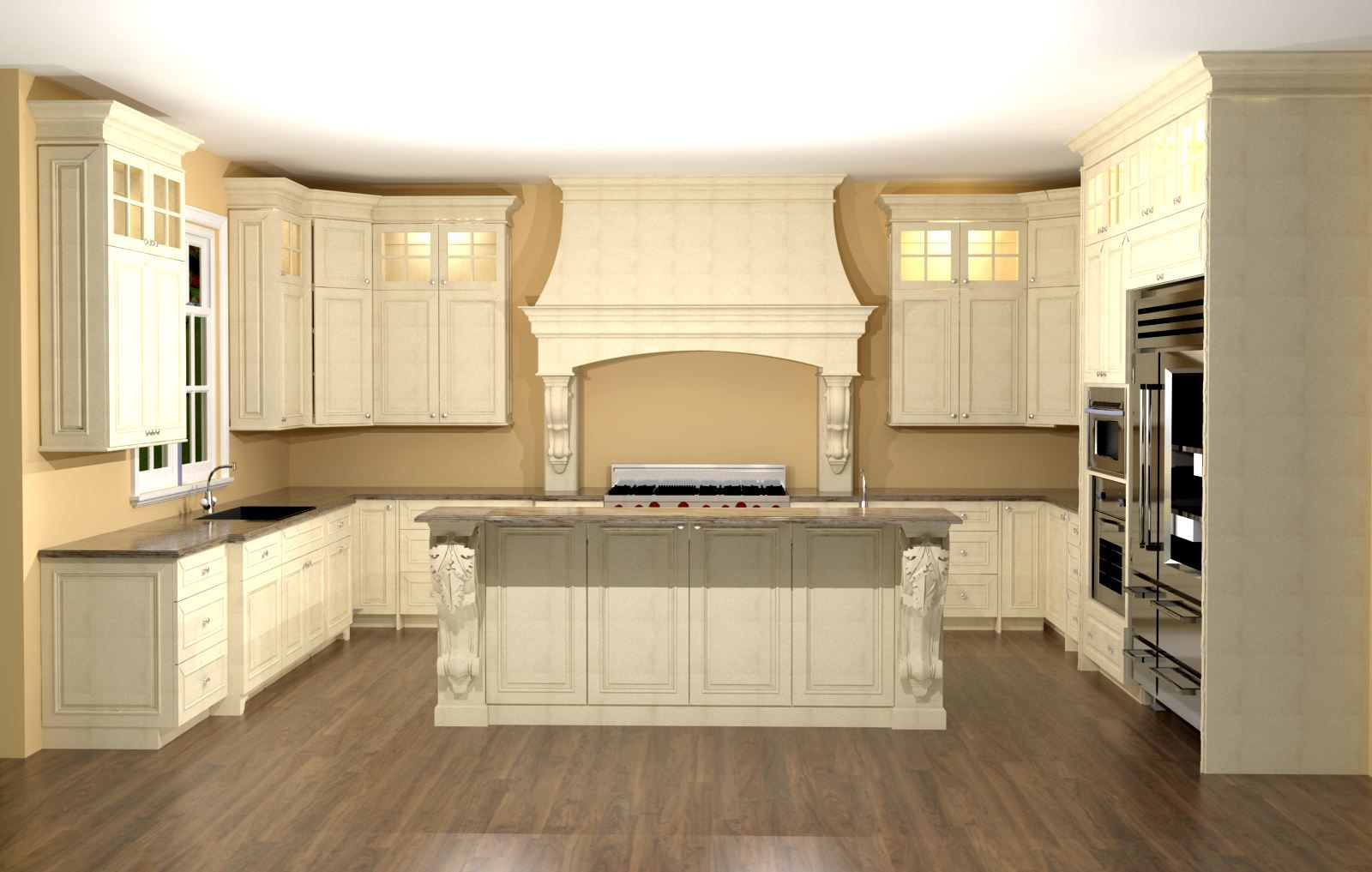 large kitchen with custom hood. features large enkeboll corbels on
