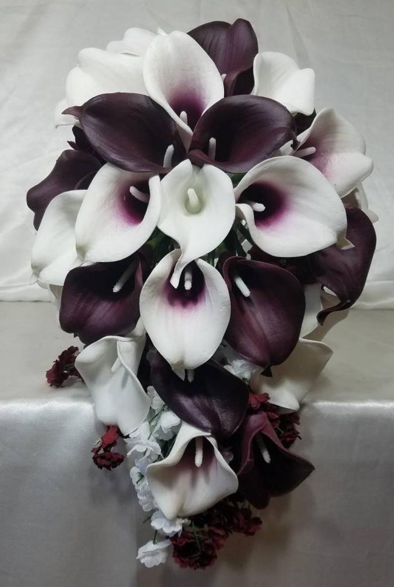 Burgundy ivory white calla lily bridal wedding bouquet