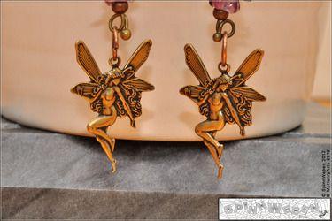 ✿   Ohrhänger - Elfen, Feen, Blütenkelche, Blüten, Blätter, Blumen, Glas, böhmisches Glas, handmade, nickelfreies Metall - 10,18 cm ✿  - SOLD -
