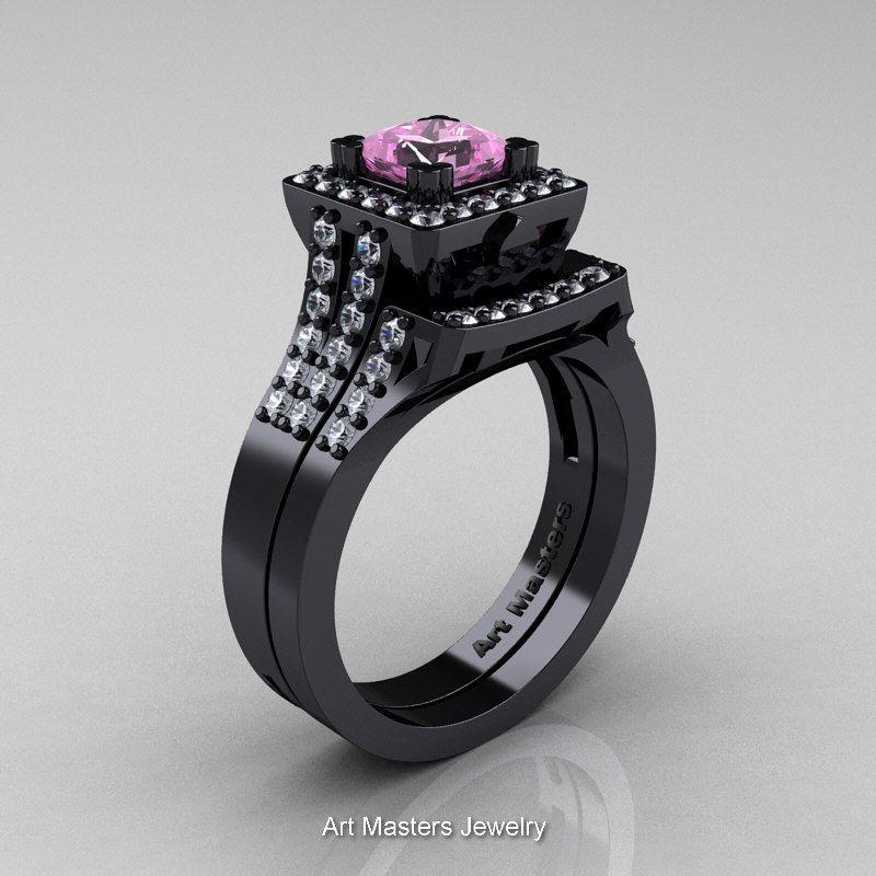b2374e18138 Art Masters Caravaggio 14K Black Gold 1.25 Ct Princess Black Diamond  Engagement Ring Wedding Band Set