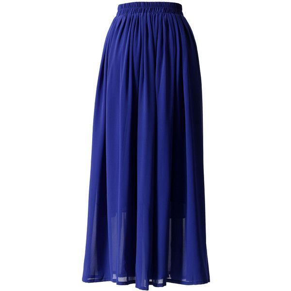 Chicwish Blue Pleated Maxi Skirt (25.060 CLP) ❤ liked on Polyvore featuring skirts, bottoms, faldas, saia longa, saias, long blue skirt, long accordion-pleat skirt, long chiffon skirt, long skirts and blue pleated maxi skirt