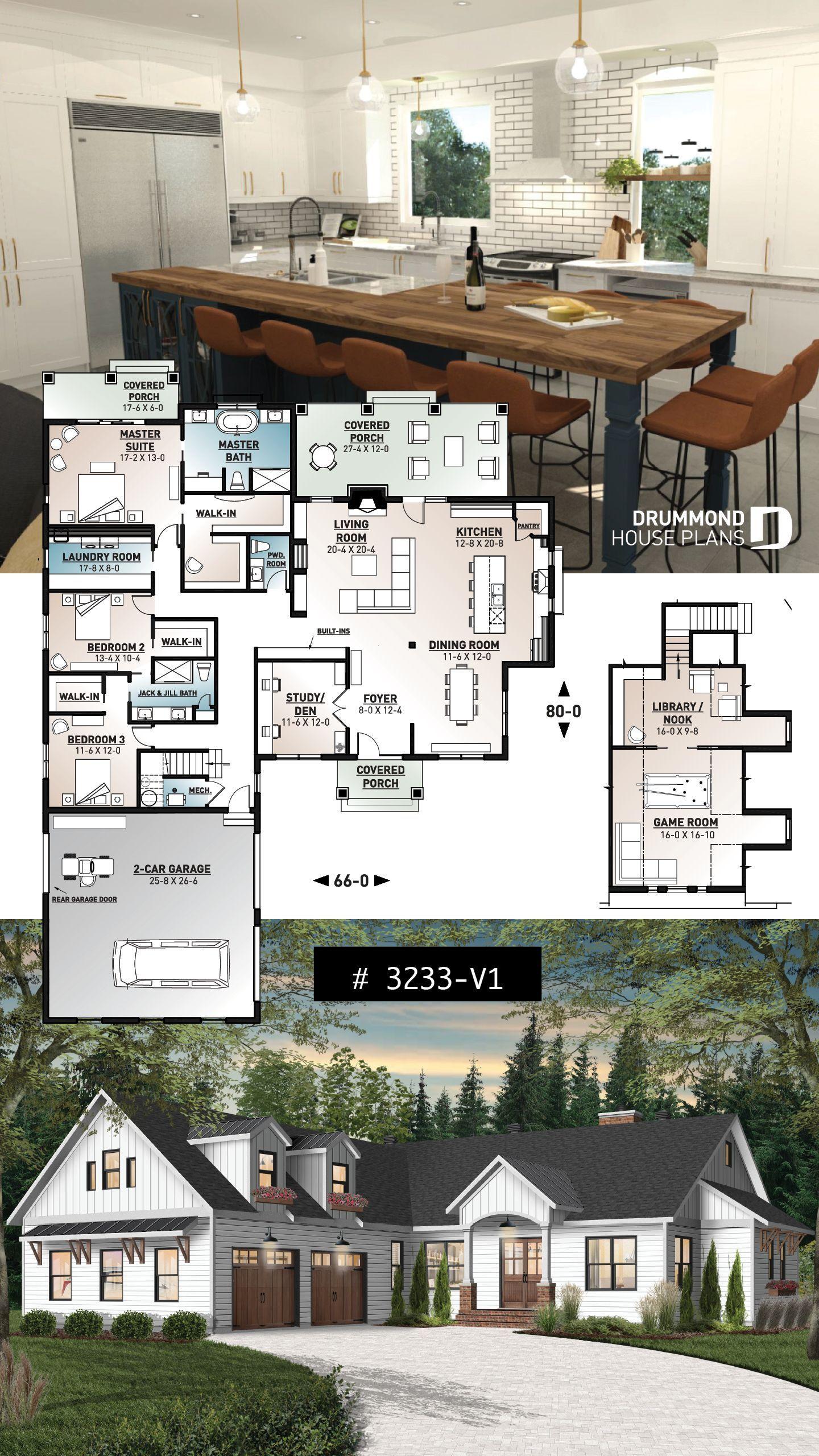Modern Farmhouse 3 Bedroom House Blueprints Sims House Plans House Layout Plans