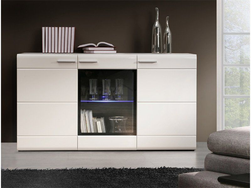 Mueble buffet en blanco alto brillo aparadores for Mueble buffet moderno