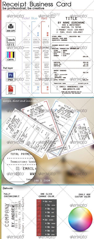 Receipt Business Card Business Card Photoshop Business Card Design Portfolio Booklet