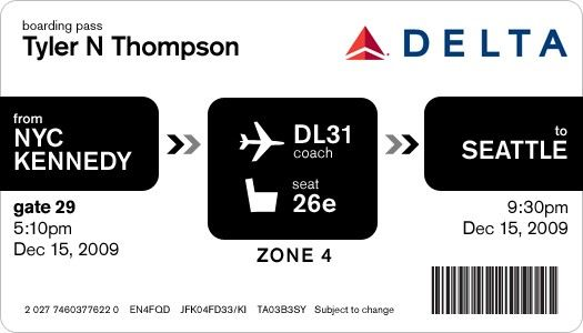 Delta Airlines Boarding Pass Davin Yoon Ephemera