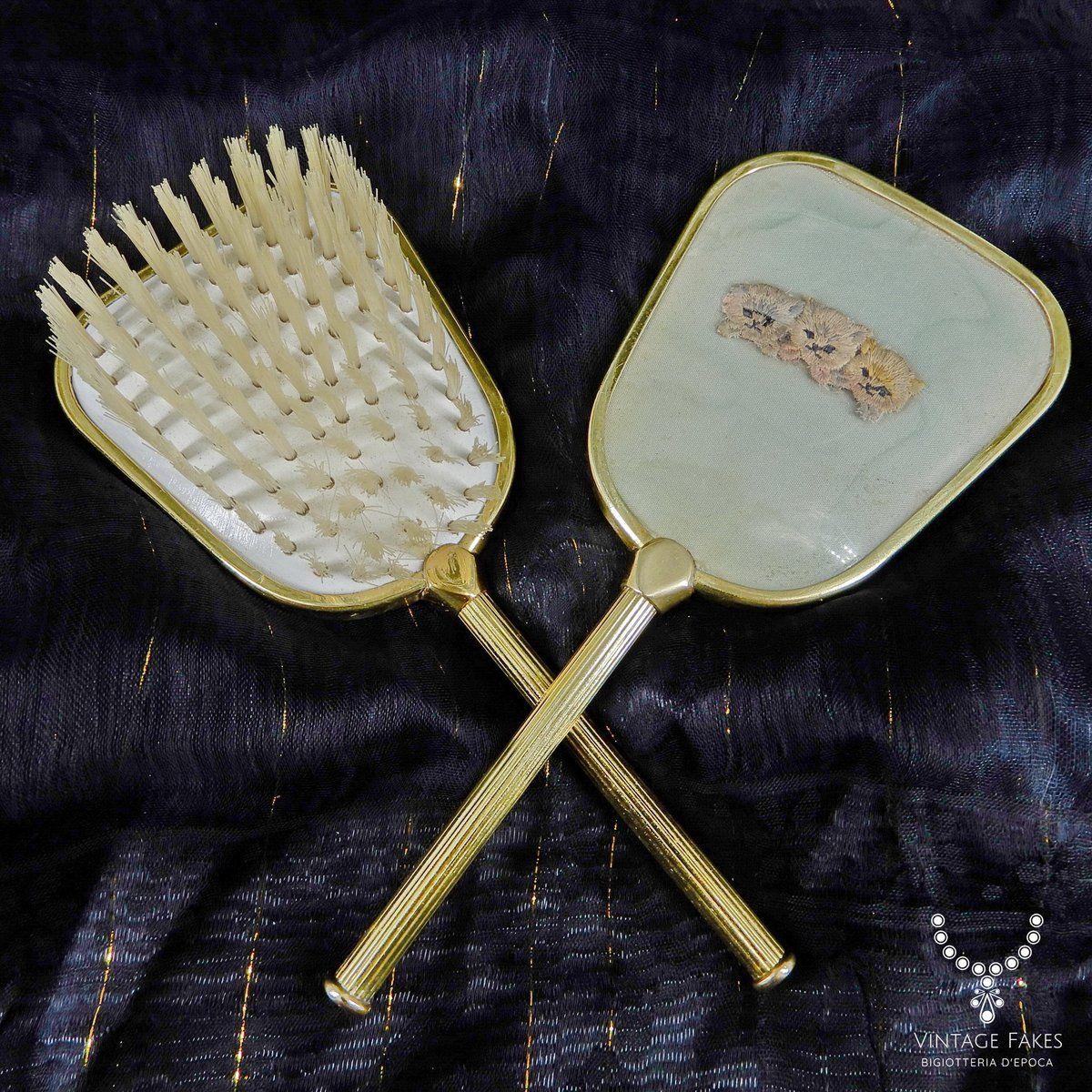 Set Spazzola Specchio.Vanity Set Vintage Anni 50 Spazzola E Specchio In Metallo