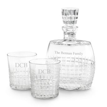 Engraved Cut Crystal Princeton Decanter Set , Add Your Personalized Message