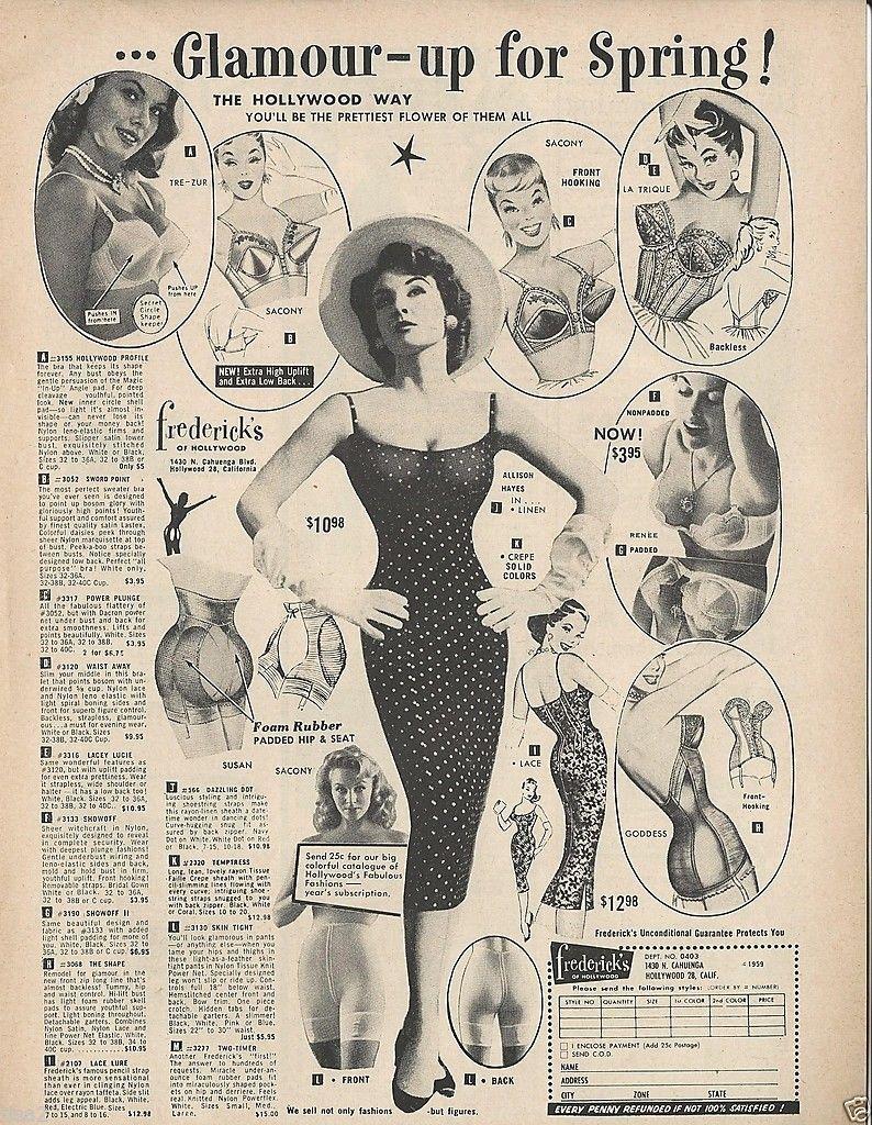 8347582e3b 1959 FREDERICK s of Hollywood Bras Girdles Corselette FASHION LINGERIE  Print Ad