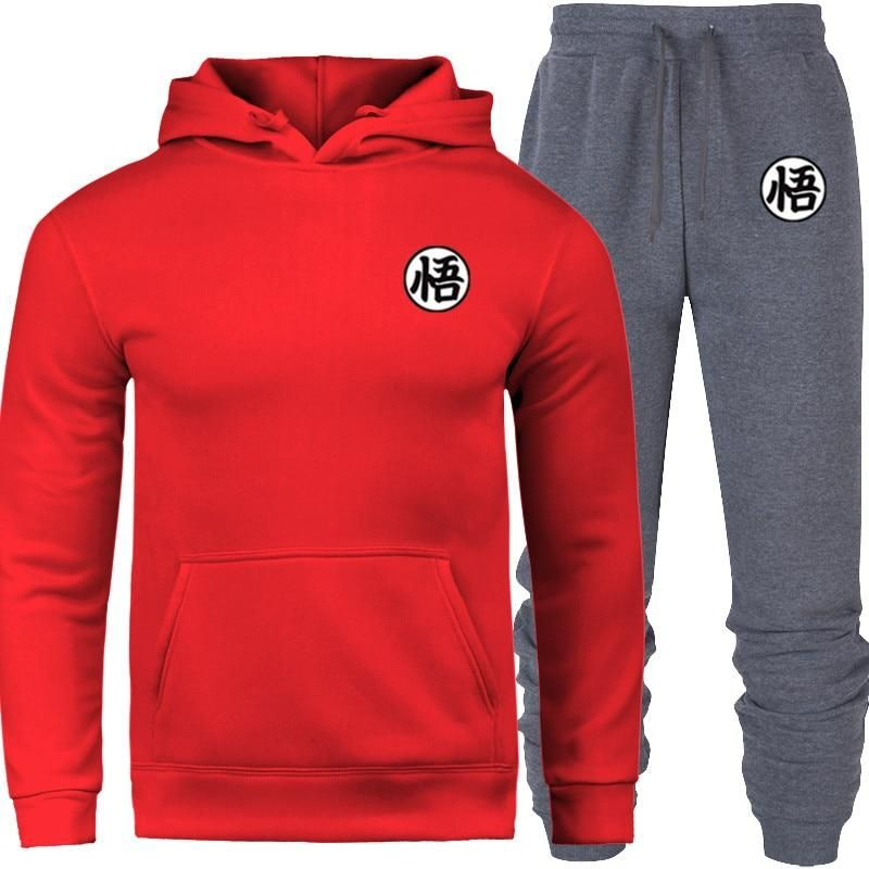 Photo of Newest Anime Fashion Brand Men's/Women's Hoodies Sets Dragon Wu slime Hoodie streetwear Men Sweat homme Casual tracksuit suits – RED GREY / S / China