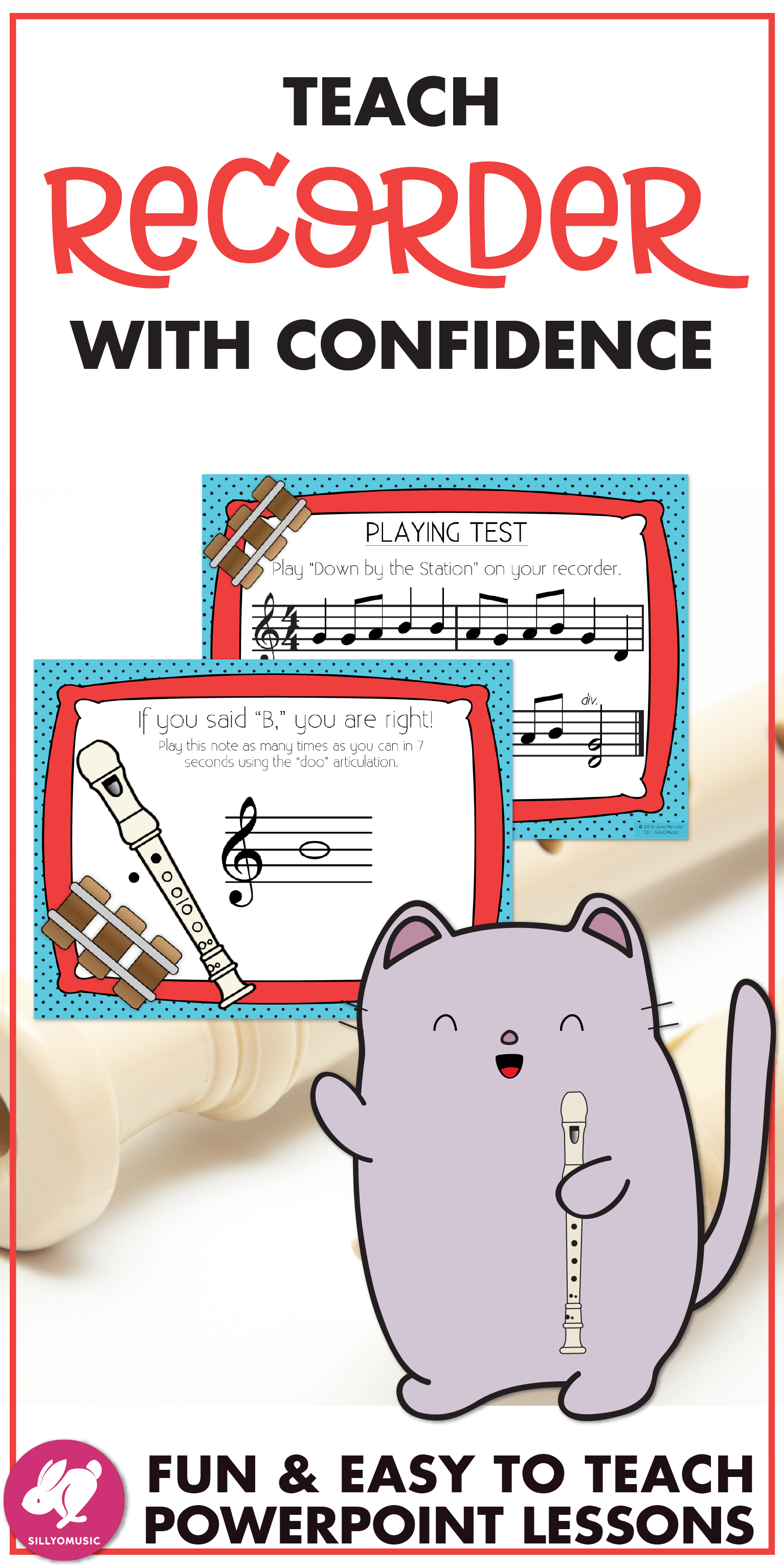 Recorder Cat 10 Sequential Powerpoint Lesson Bundle With