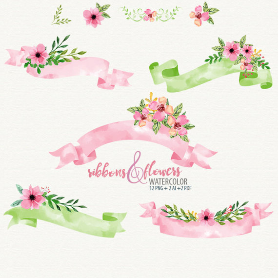 Wedding Ribbon Watercolor Fl Clipart Vector Flowers High Quality That You Will Surely Love