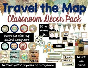 Travel Classroom Decor Bundle Editable Classroom Organization
