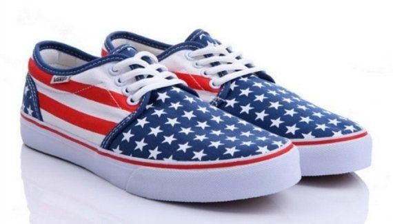 American Flag Vans Sneakers by WeRTheWildYouth on Etsy, $55.00