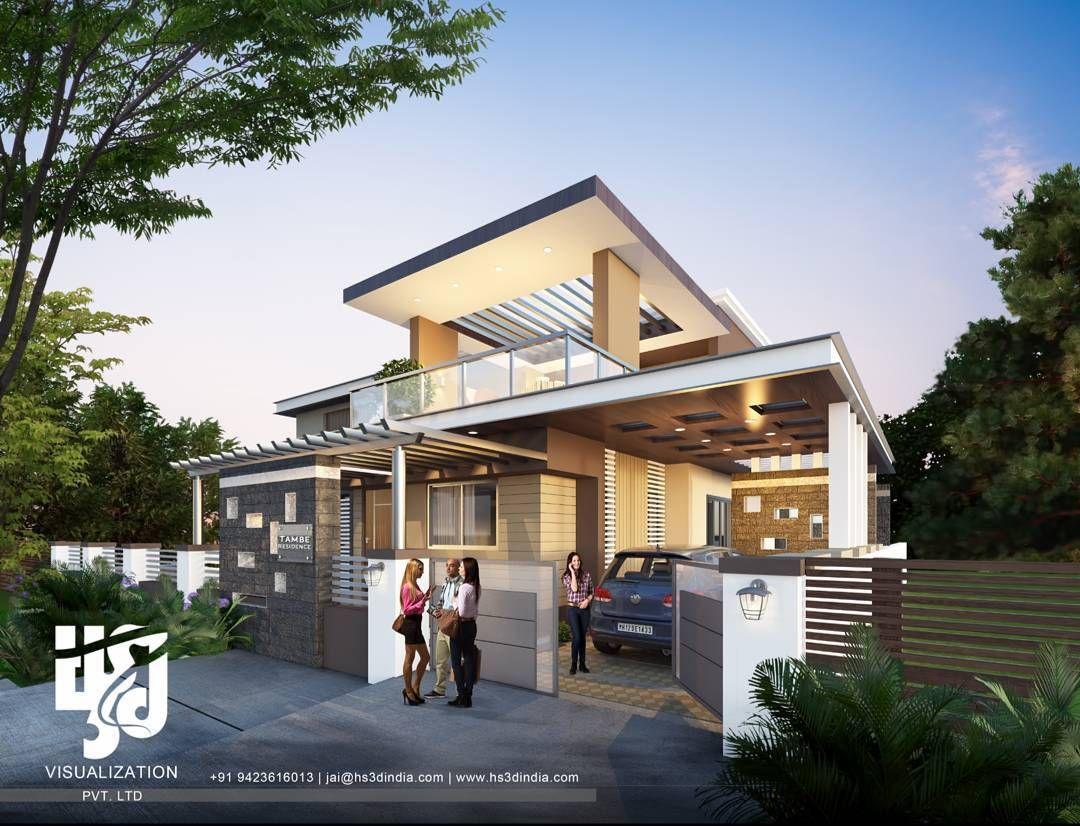 BUNGALOW #exteriordesigns #3drender @hs3dindia #archdaily