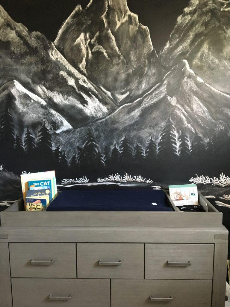 Amazing Mountain Mural In This Black White And Grey Nature Adventure Themed Nursery Nurseryideas
