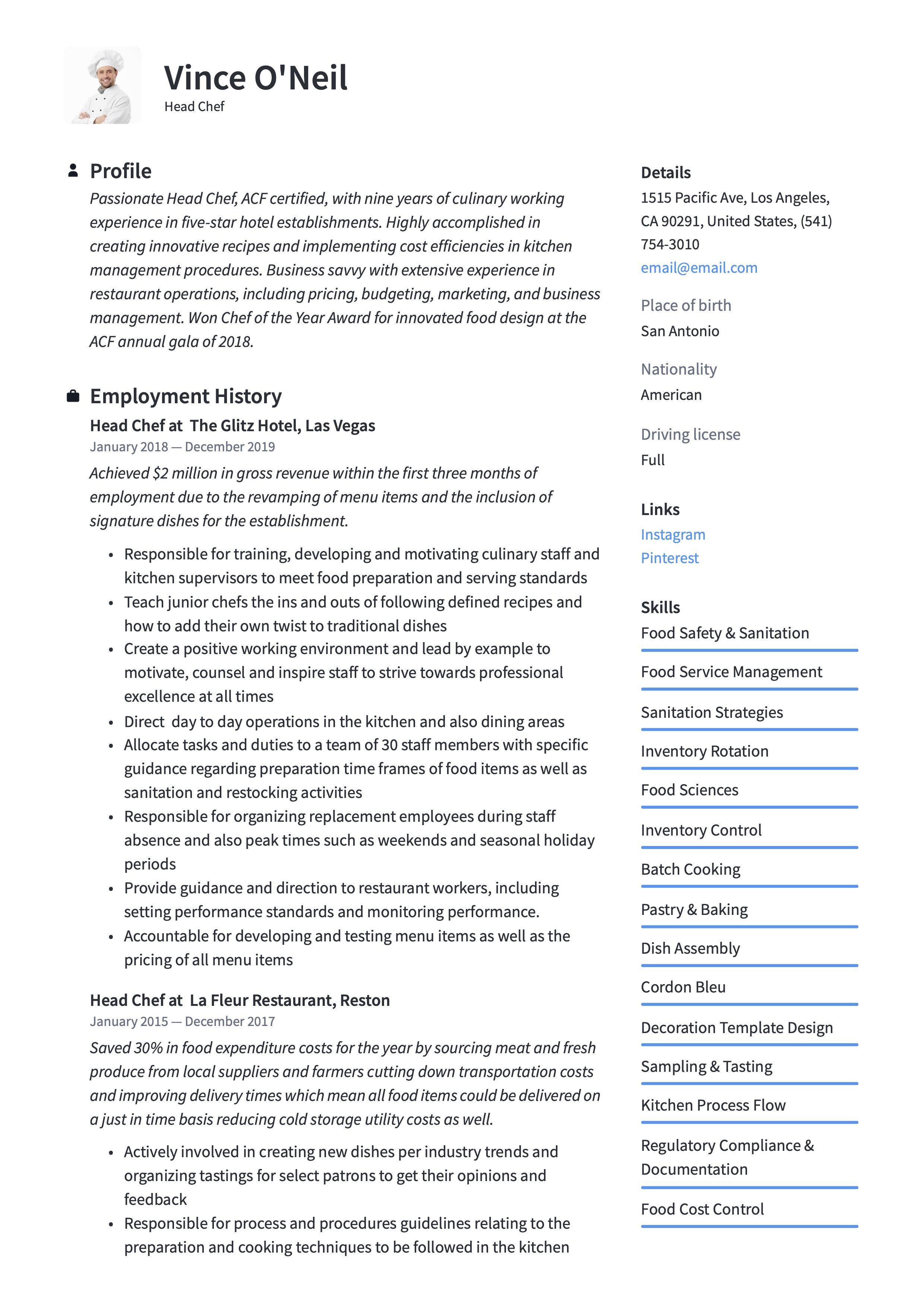 Head Chef Resume Sample Chef Resume Guided Writing Resume Writing