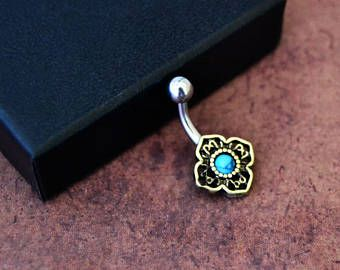 Tiny Small Belly Button Ring Little Turquoise Belly Barbell Ring