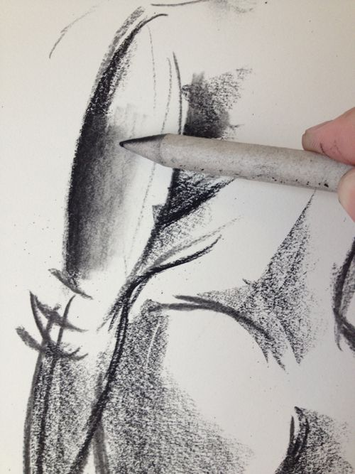 Using tools to blend and soften values in charcoal. (More step-by-steps on webpage).