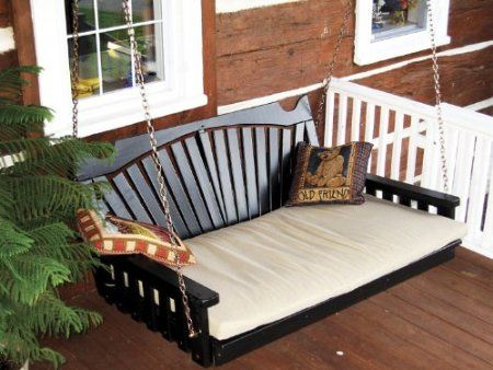 Porch swing - in white...  Amazon.com: Outdoor 5 Fanback Swing Bed - Oversized Porch Swing - PAINTED- Amish Made USA -White: Patio, Lawn & Garden