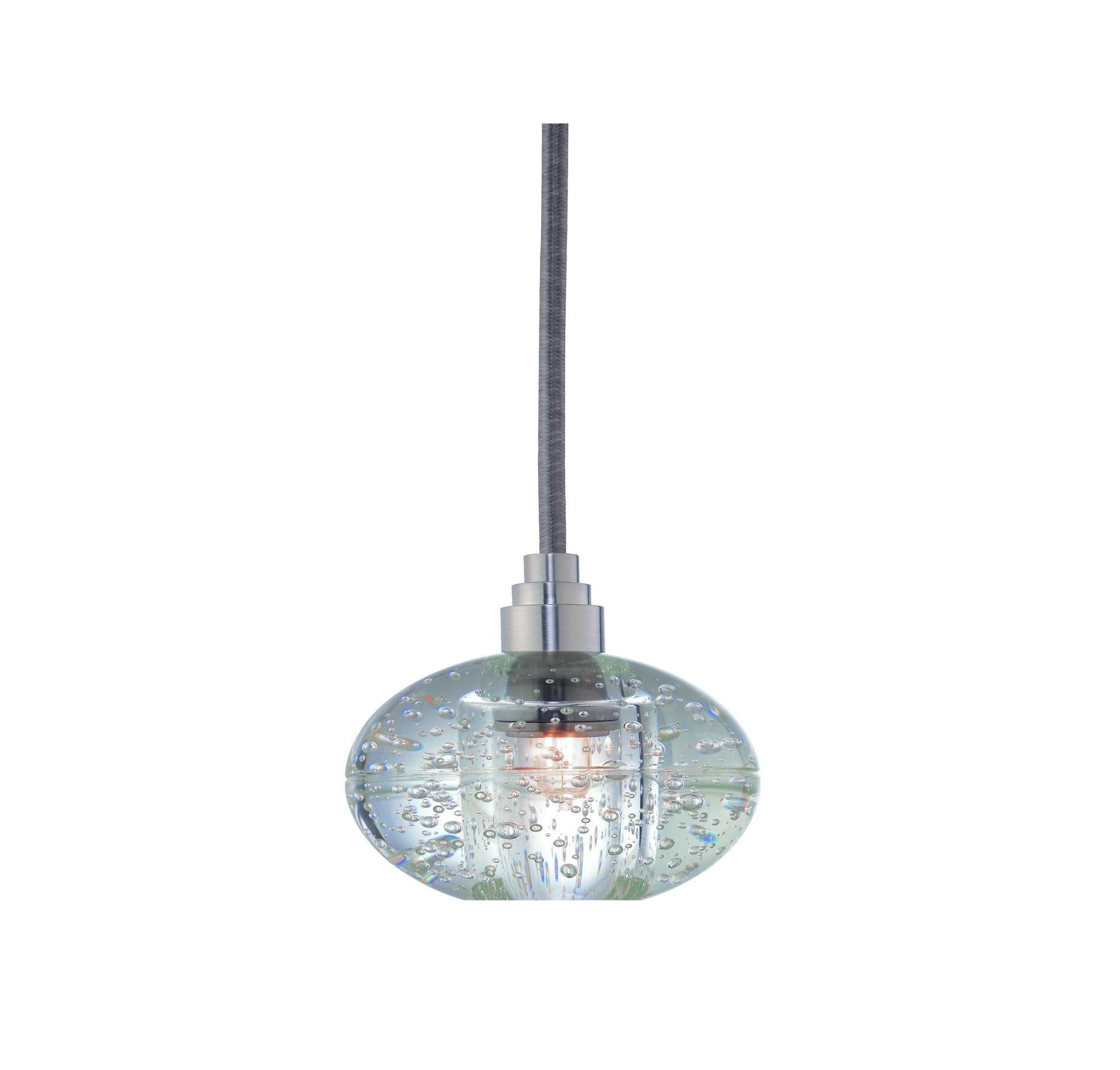 Hudson Valley 3506-SN-S-001 Naples Glass Nickel Pendant in Nickel in Ceiling Lights, Pendants, Ceiling Pendants: LightsOnline.com