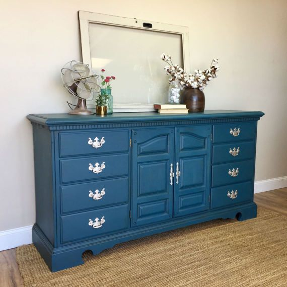 Blue Dresser   12 Drawer Dresser   Bedroom Furniture   Long Dresser    FixerUpper Furniture