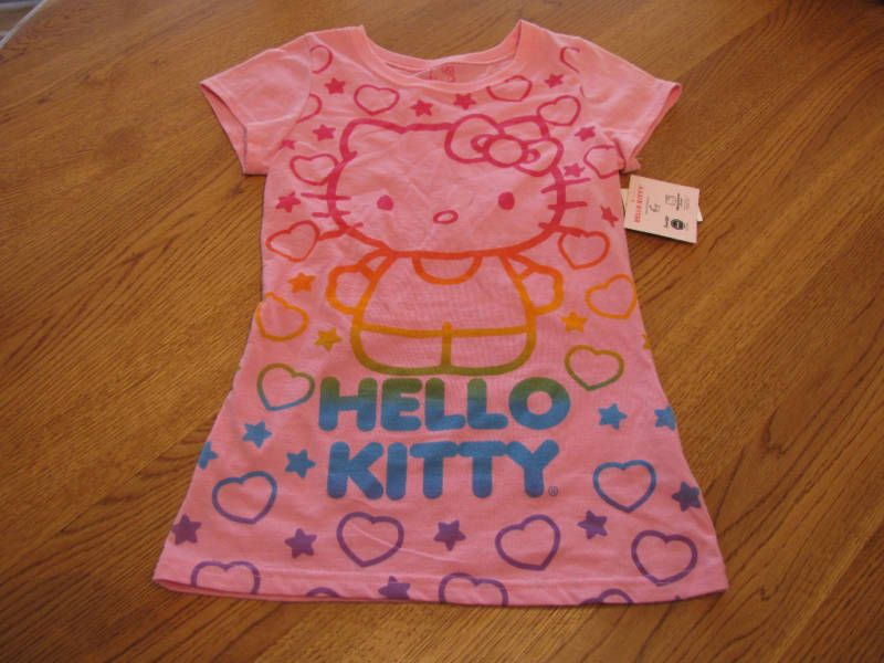Girls Hello Kitty t shirt pink L large Youth hearts short sleeve TEE NEW NWT ^^ #HelloKitty