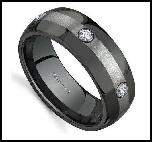 Tungsten Wedding Bands Gautier Palladium Inlaid Beveled