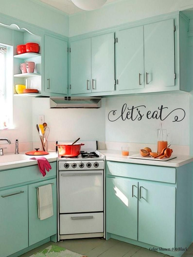 Let S Eat Vinyl Wall Quotes Wall Quote Decal Kitchen Decals Vinyl Letters Dining Room Family Wall Decal Food Kitchen Wall Quote Decal In 2020 Small Kitchen Decor Small Apartment Kitchen Kitchen