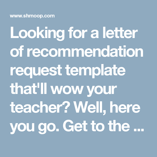 Looking For A Letter Of Recommendation Request Template ThatLl