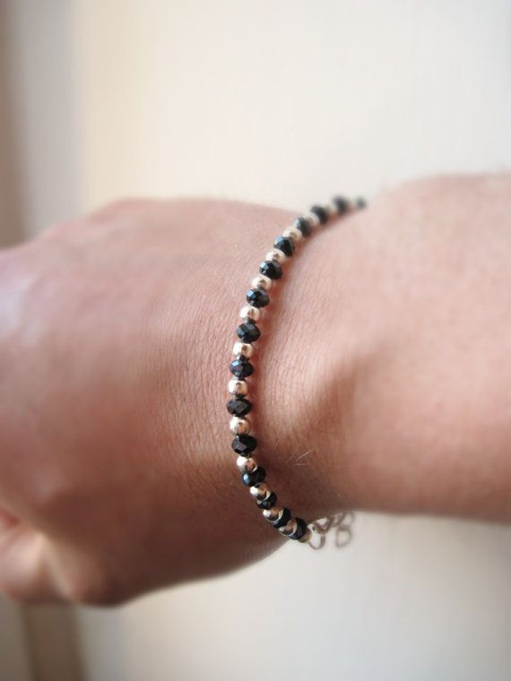 Black and Silver  mens adjustable bracelet by MarlysCreations, €11.00