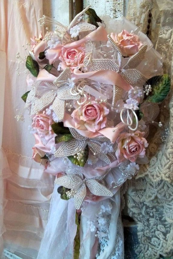 Large wedding bridal bouquet new and vintage white waxed flowers pink roses anita spero