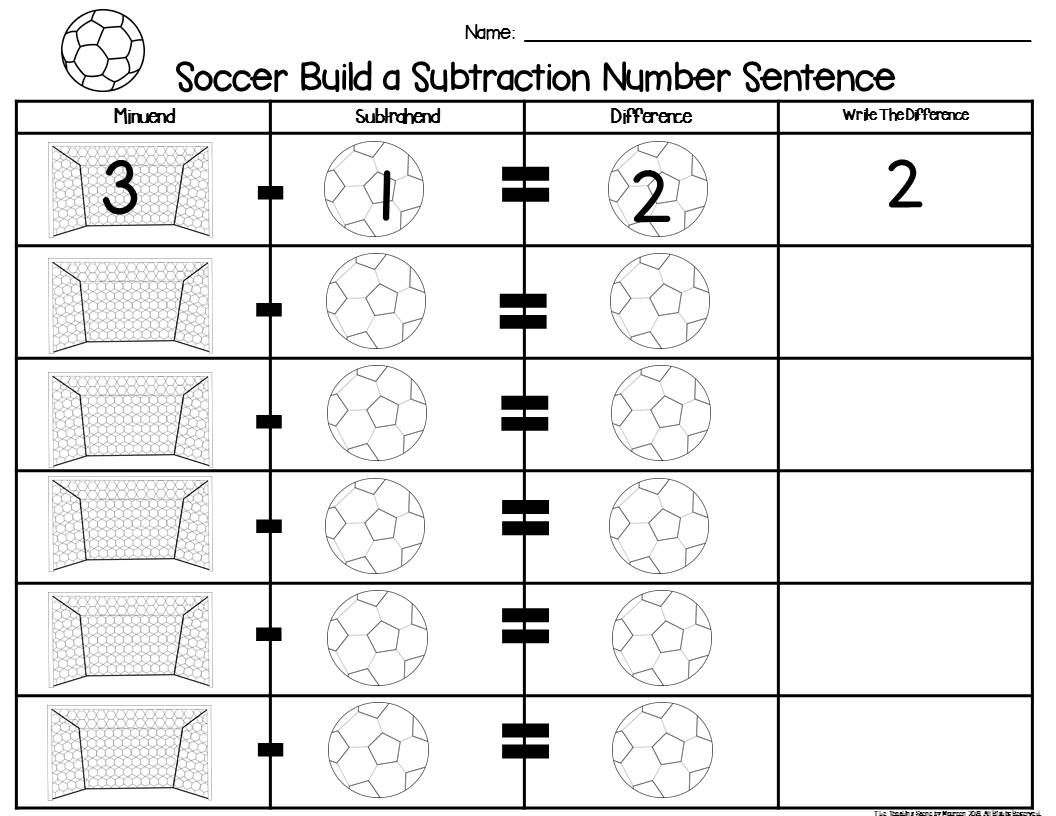 Soccer Build 2 Addend 0 20 Addition Amp Subtraction Number