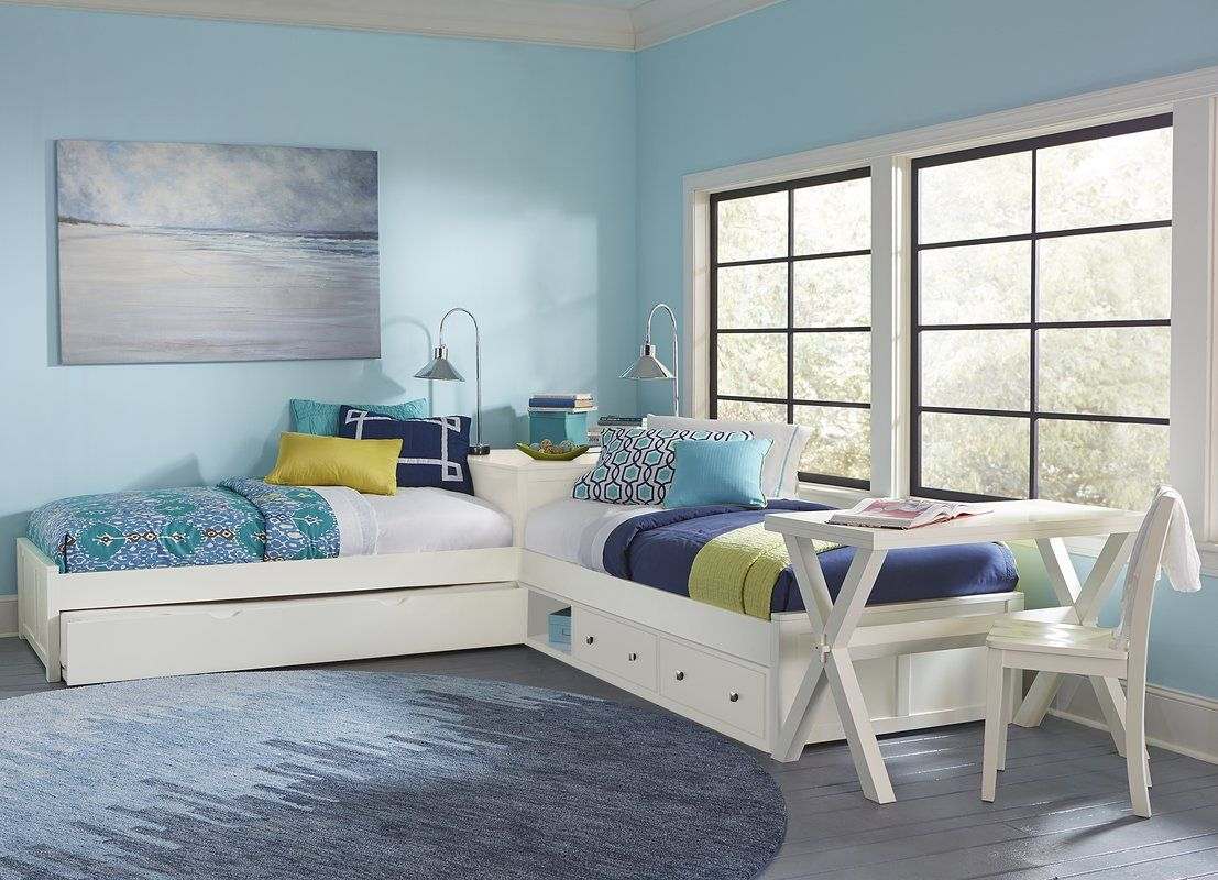 Granville LShaped Storage Twin Panel Bed with Trundle