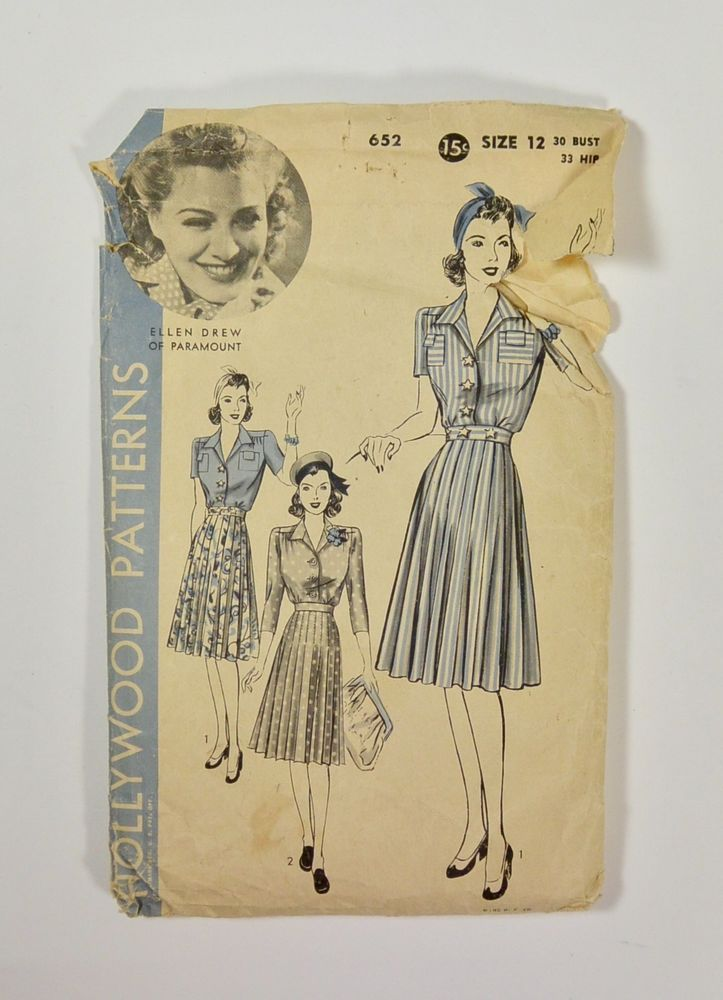 Vintage 1940s HOLLYWOOD Sewing Pattern ELLEN DREW Shirt Waist Dress ...