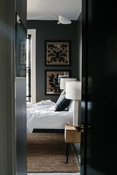 Dark Walls in the Bedroom (Simply Grove) #graybedroomwithpopofcolor