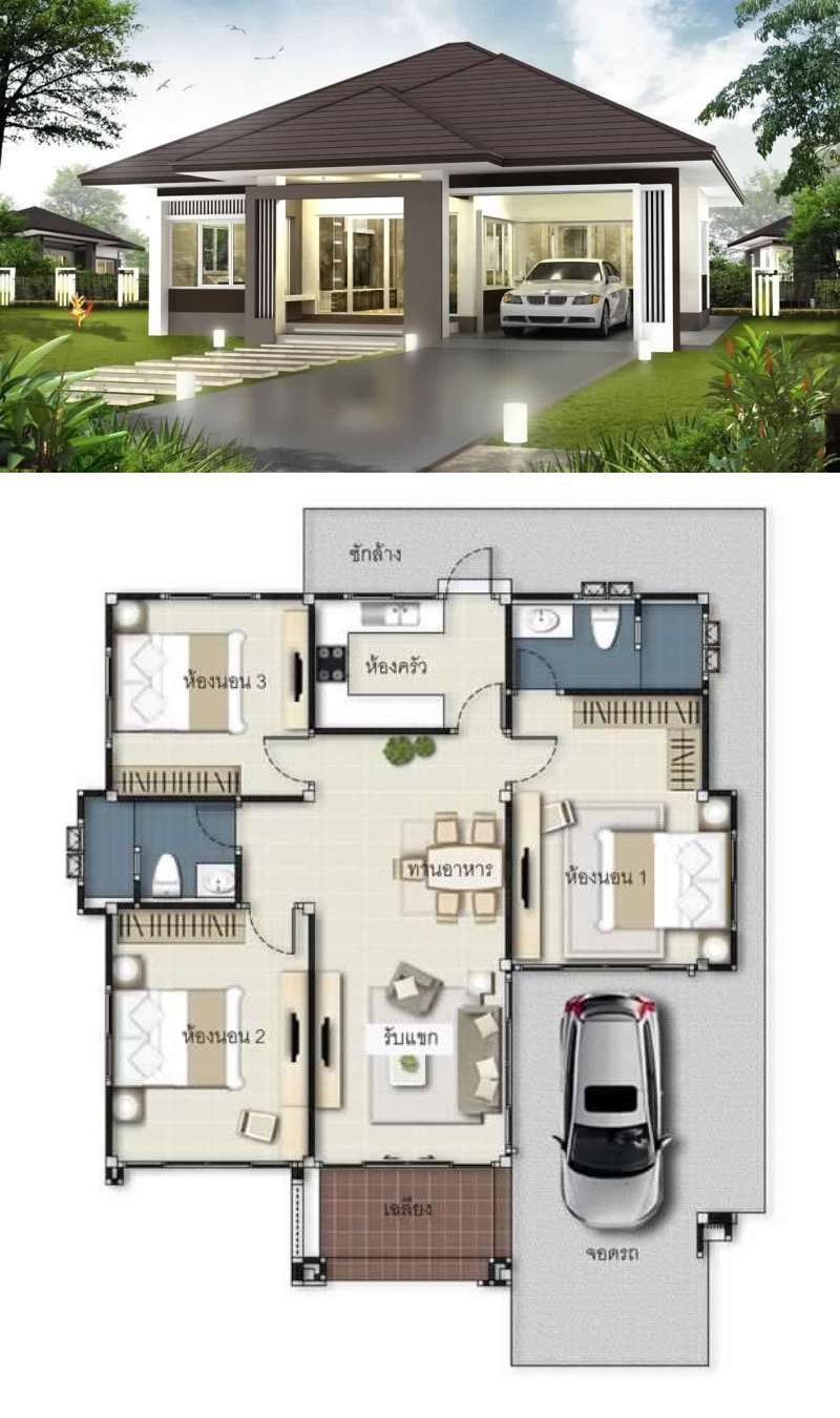 Bungalow House Design With Floor Plan Arsitektur Rumah Rumah Kontemporer Denah Rumah