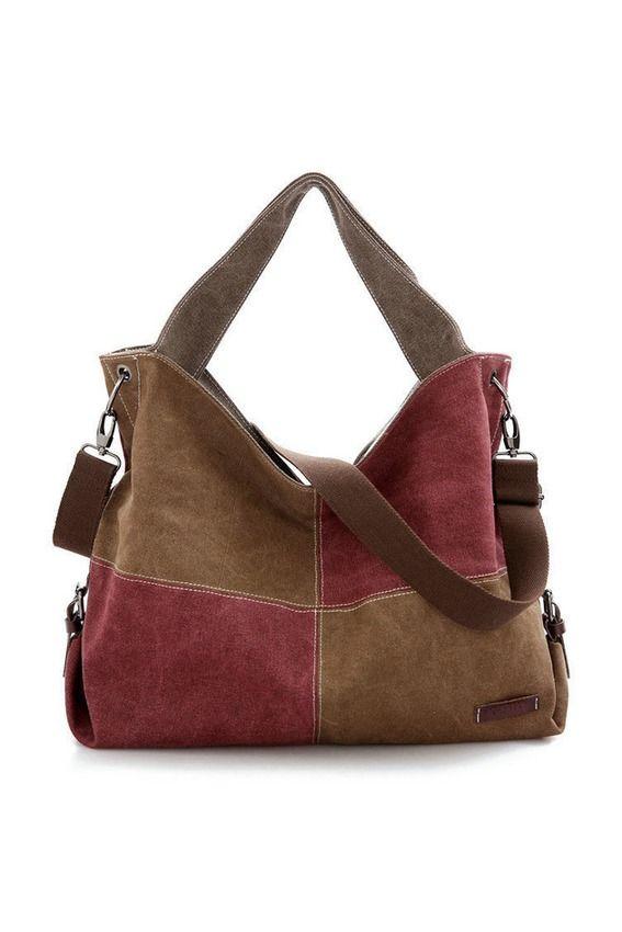 Lady Canvas Patchwork Messenger Bag Hit Color Shoulder Bag ...